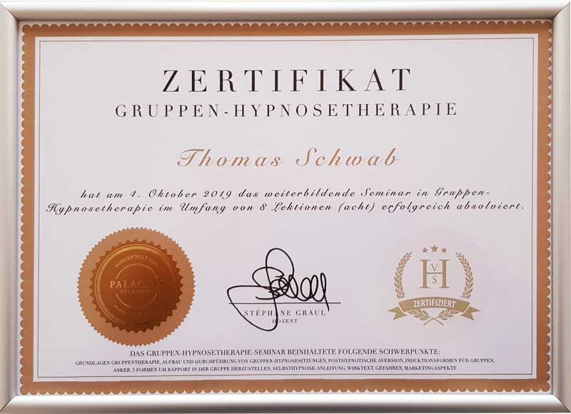 Zertifikat Gruppen-Hypnosetherapie